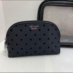 NWOT Victoria's Secret Black Dot Makeup Bag Pouch